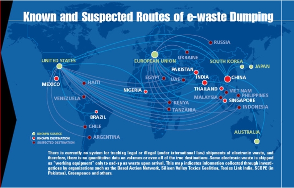Global e-waste trade routes map